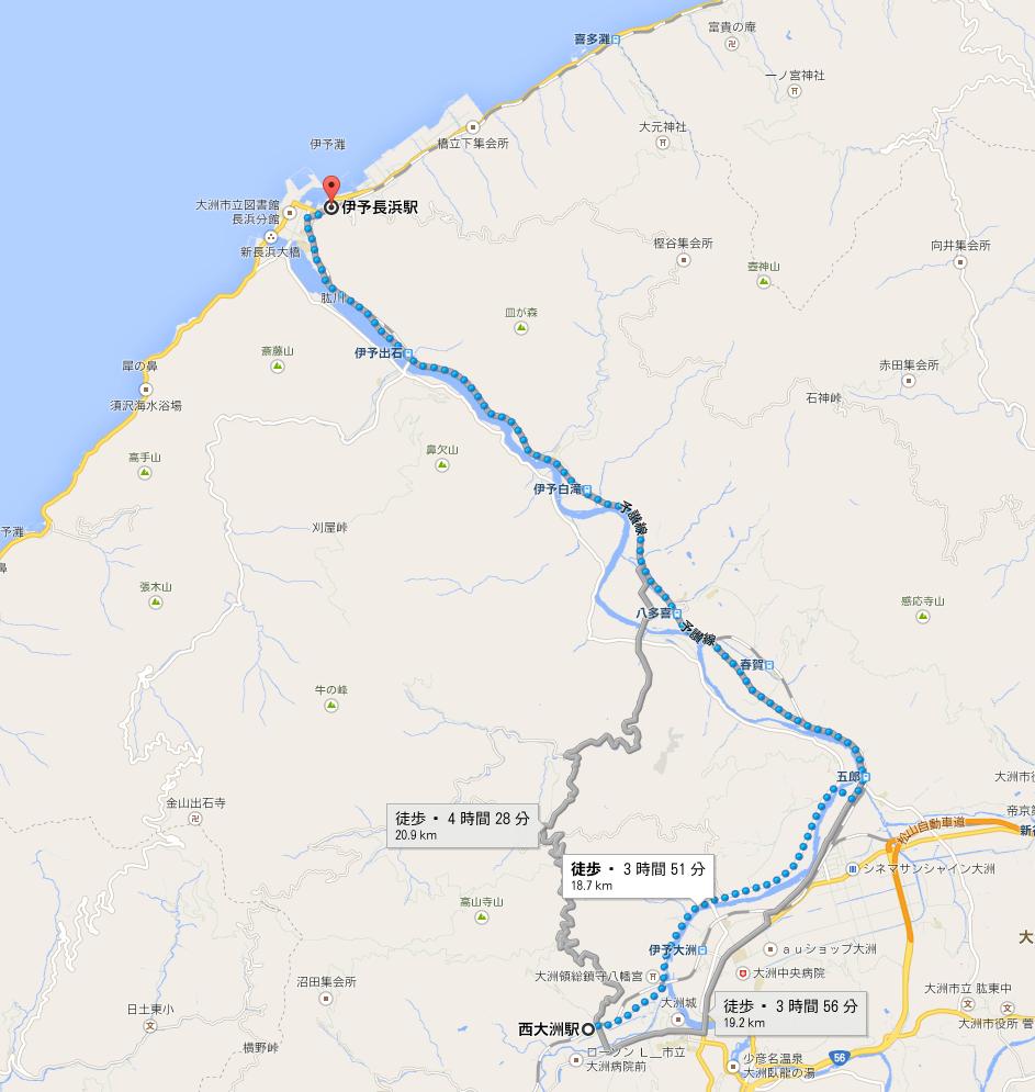 西大洲〜長浜 Googleマップ