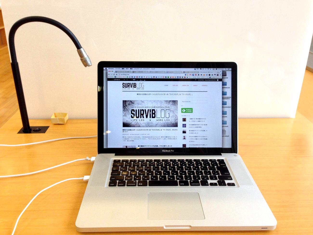 図書館でMacで作業
