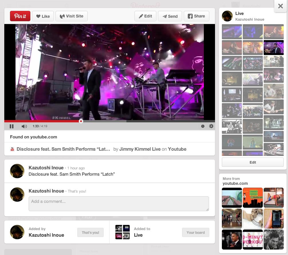 Pinterestのボード「Live」の再生