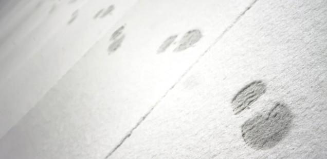 雪についた足跡
